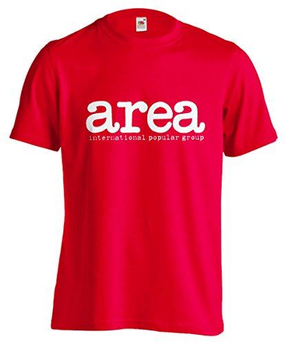 T-shirt Uomo Area International popular group - Maglietta band prog anni 70 100% cotone LaMAGLIERIA, S, Rosso