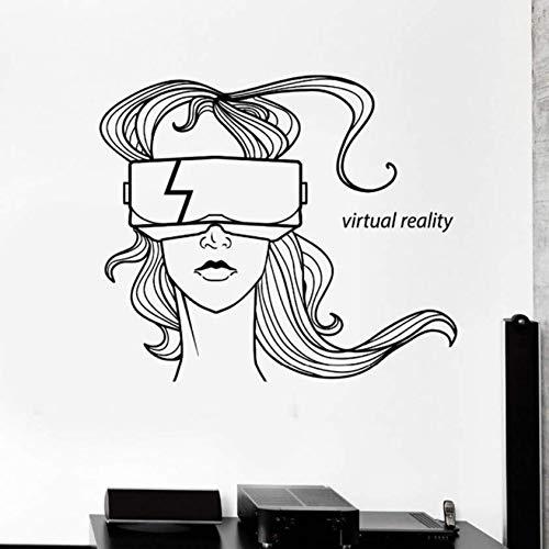Virtuelle Realität Worte Wandkunst Aufkleber Wohnkultur Wohnzimmer Schaufenster Dekorieren Vinyl Wandtattoos Headset Brille Mädchen 56x68cm