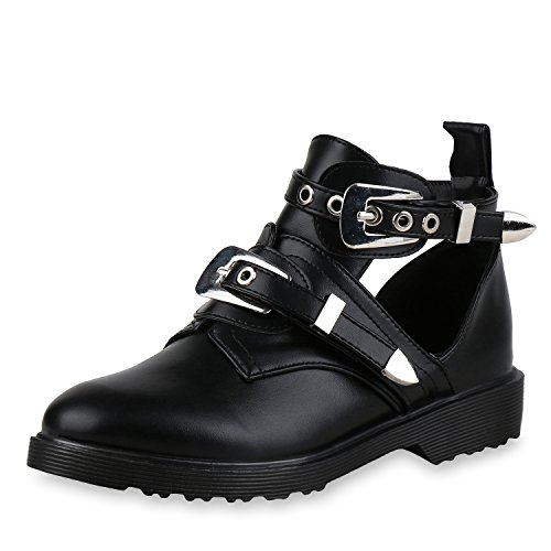 SCARPE VITA Damen Stiefeletten Ankle Boots Cut Out Booties Leder-Optik Schuhe 166105 Schwarz 40 (Leder Damen Bootie)
