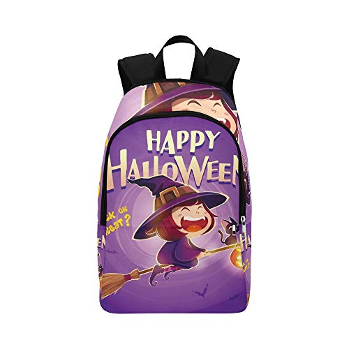 Happy Halloween Halloween Fliegende kleine Hexe lässig Daypack Reisetasche College School Rucksack für Herren und Frauen