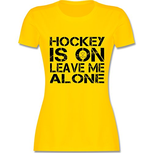Eishockey - Hockey is On - XXL - Gelb - L191 - Damen T-Shirt Rundhals