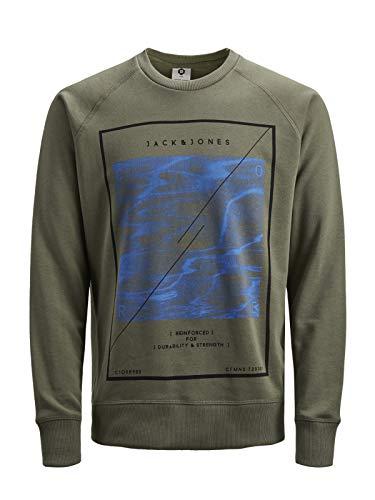 JACK & JONES Herren Pullover Sweatshirt Missions Longshirt, Größe:S, Farbe:Grün
