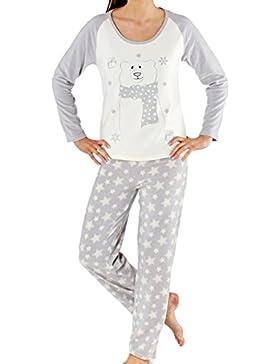 Dimensione donna 140GSM grigio e bianco morbido micropile orso polare e stelle Pyjammas 8/10, 12/14, 16/18