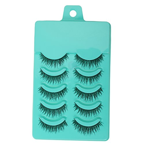 Generic, Fibre Fashion Beauty Makeup Handmade False Eyelashes Messy Cross Style for Women, (White)-5 Pairs
