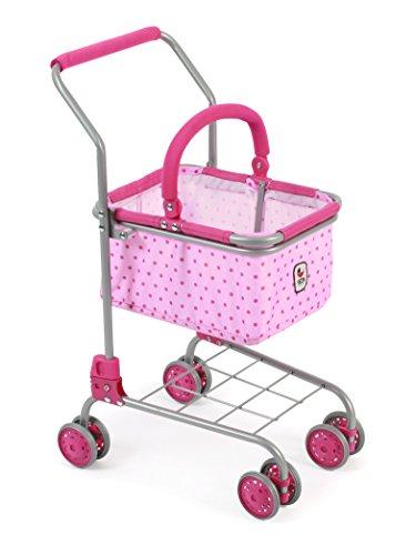 Bayer Chic 2000 761 31 - Einkaufswagen mit Tragekorb, Ideale Ergänzung zum Kaufladen, Dots Pink