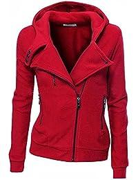 Minetom Mujeres Cremallera Sudadera con Capucha Chaqueta Corta con Capucha Estilo Casual Jacket Sportswear
