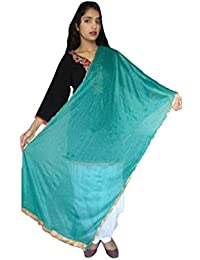 SUNRISE Women's Crape And Plain Net Dupatta (Turquoise)