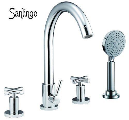 Sanlingo Design 4-Loch Wannenarmatur Wannenrand mit Kreuzgriff - Armatur für Badewanne