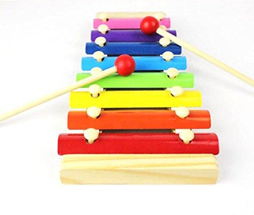 Habba-Babba - Holz Xylophone / 8 Klänge und Farben Musikinstrument für Anfänger und kleine Musiker mit zwei Schlägeln ab 36 Monaten geeignet