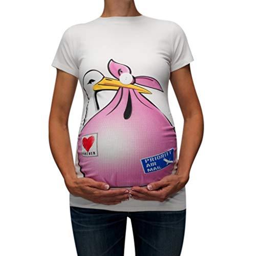 Topgrowth T Shirt Premaman Divertenti Maglietta A Maniche Corte Donna Stampa del Fumetto Casual Maglia Gravidanza Camicetta Tops