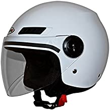 Shiro Casco Jet, sh62, GS, color blanco, tamaño L