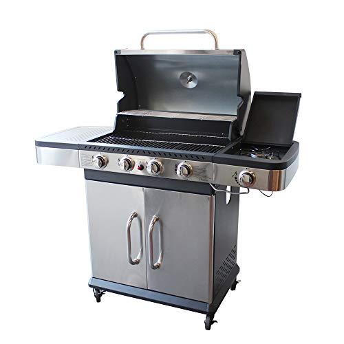 milanihome barbecue a gas in acciaio inox 4 fuochi + 1 laterale per esterno giardino, portico, terrazzo