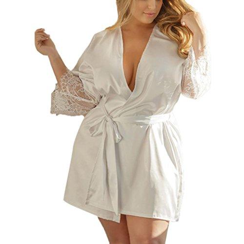 Vestido de Kimono de Seda de Seda Sexy Babydoll Ropa Interior de Encaje Lencería de Baño Ropa de Cama ropa interior mujer★Longra