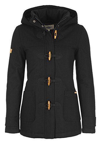 DESIRES Penna Damen Winter-Mantel Wollmantel Dufflecoat mit Stehkragen und gefütterter Kapuze aus hochwertiger Woll-Mischung, Größe:M, Farbe:Black (9000)