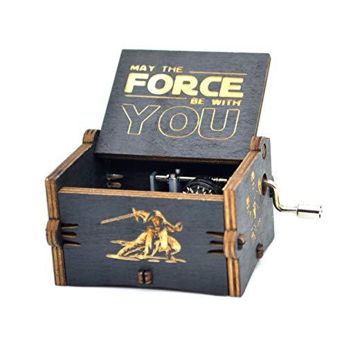 Star Wars Spieluhr aus Holz mit Gravur Geschenk Spieluhr -18 Hinweis Mechanismus Antik geschnitzte Spieluhr für Kinder Geschenk(Star Wars) -