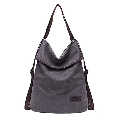 KSK KAISHEK Vintage Canvas Damen Schultertasche Retro Rucksack Multifunktionale Tasche für Arbeit, Schule und Lässige täglich