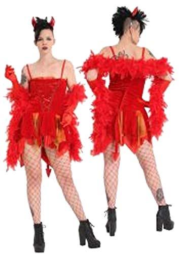 Islander Fashions Damen Scary Red Devils Freude Kost�m Damen Halloween Outfit Komplettset Einheitsgr��e (Devil's Delight Für Erwachsenen Kostüm)