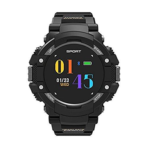 Sport Smart Uhren, No. 1 F7 Echtzeit-Herzfrequenz Temperatur Monitor Höhenmesser Barometer Wasserdicht Kompass GPS Multi Armband Smart Sport Fashion Armbanduhr (Grau)