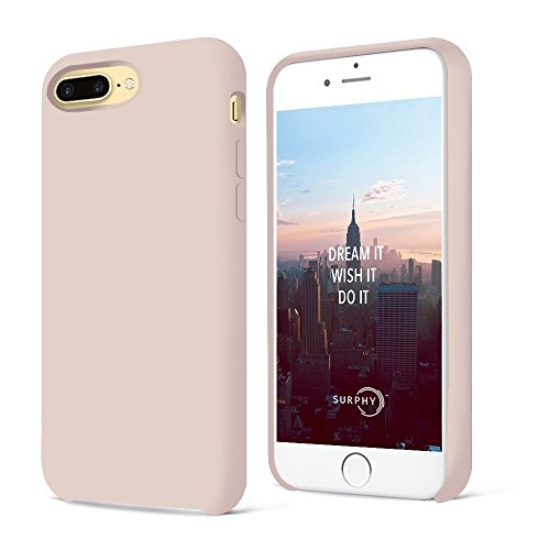 iPhone 7 Plus Funda, iPhone 8 Plus Funda,SURPHY Ultra suave 5.5 pulgadas Case líquido de silicona Gel iPhone 7 Plus / iPhone8 Plus Slim Fit suave con forro de gamuza de microfibra suave cojín (Rosado)
