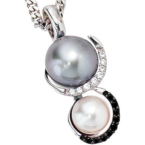 Ciondolo{585} in oro bianco{2} perla-perla{17} thuppaki-brillanti 0, 11ct.