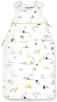 Kit & Kin - Saco de dormir para bebé, diseño unisex, 100% algodón orgánico blanco World Print Talla:0-6 m