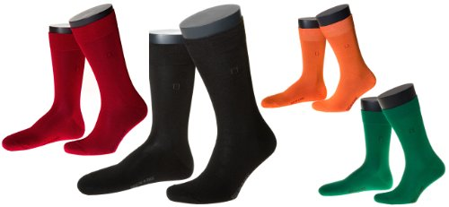SOX IN A BOX 4er-Set Classic Socken, unisex, schwarz, rot, grün, orange, Grö. (Sox Baumwolle Classic)