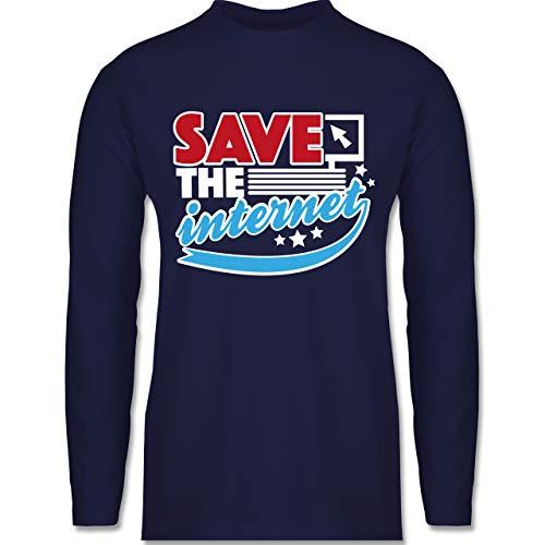 Statement Shirts - Save The Internet - XL - Navy Blau - BCTU005 - Herren Langarmshirt