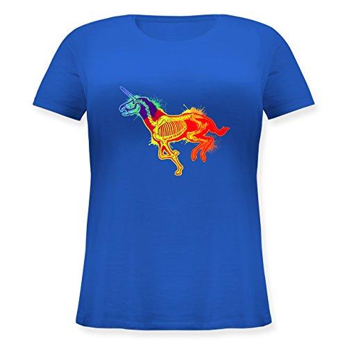 Shirtracer Einhörner - Einhorn Skelett - Lockeres Damen-Shirt in Großen Größen mit Rundhalsausschnitt Blau