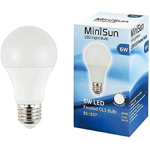 Juego de 3bombillas de LED. E-27, pera Opaque, diámetro de 60mm 6Watt = 60watt 500lumens. Color blanco del día Light Therapy 6500K, vida