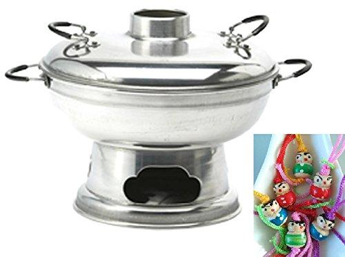 yoaxia ® - FEUERTOPF - auch Mongolentopf - Asien- Fondue - HOT POT Ø ca. 24cm - mit Deckel + ein kleines Glückspüppchen - Holzpüppchen (Hot Pot Mits)