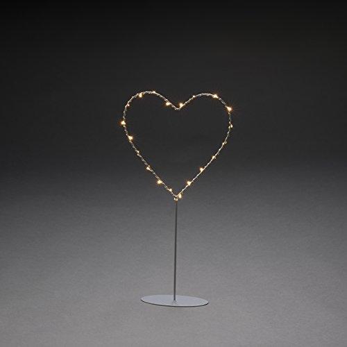 Konstsmide, 1218-993, LED Metallstern mit Metall-Fuß, silberfarben lackiert, mit silberfarbenem Draht umwickelt, 6h Timer, 20 bernsteinfarbene Dioden, batteriebetrieben, Innen, transparentes Kabel