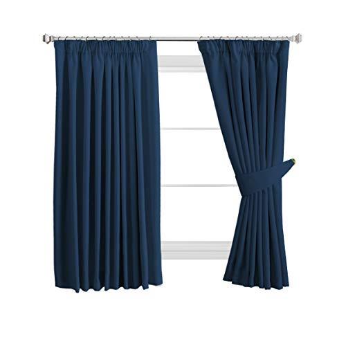 H. VERSAILTEX Cortina de oscurecimiento, cortina opaca con ojales, 2 piezas 245 x 130 cm (alto x ancho), juego de 2 unidades, tejido, azul marino, 2 x W46'' x D54''