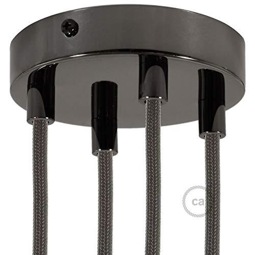 creative cables Lampenbaldachin Kit 4-Loch metallisch schwarz mit zylindrischer Metall-Zugentlastung in metallisch schwarz