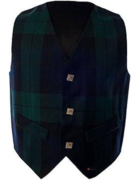 I Luv LTD Boys Waistcoat Silk Back Adjustable Buckle Black Watch Tartan