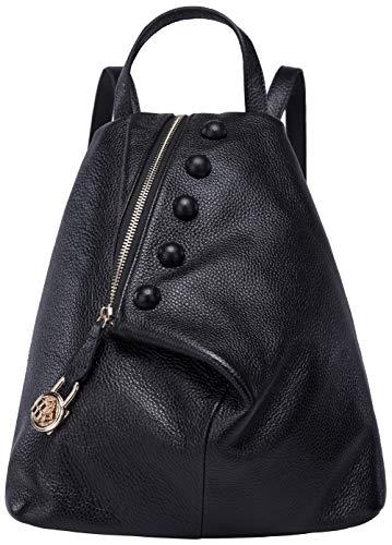 Rucksack aus echtem Leder für Damen Shoulder Fashion Bag Satchel Tagesrucksack, Schwarz-01, Medium - Medium-high Top