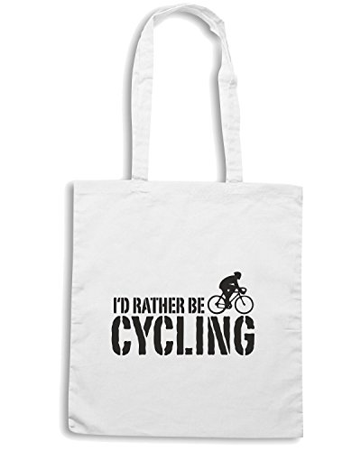 T-Shirtshock - Borsa Shopping OLDENG00119 id rather be cycling male Bianco