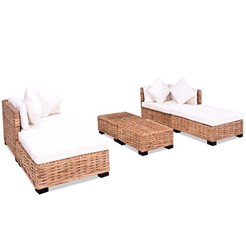 Festnight set 16 pz divano da giardino esterno in rattan naturale con tavolino e cuscini,divano modulare da giardino rattan,divano letto da giardino in rattan,lettino prendisole da giardino in rattan
