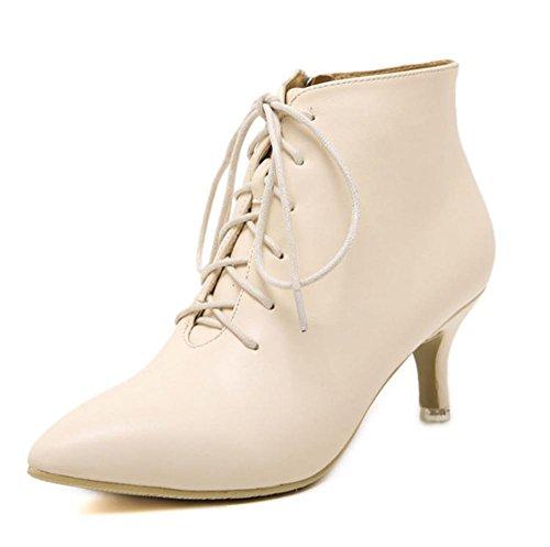 YMXJB Talons femmesBottes lacées, bottes femmes chaude mode minimaliste apricot