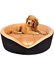 slatters be royal store Round Shape Reversable Dual Golden & Brown Color Ultra Soft Ethnic Designer Velvet Bed for Dog/Cat (Export Quality) Small