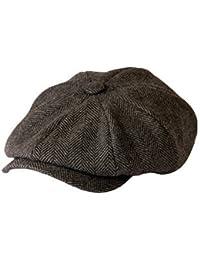 be5ab692 'Shelby' Newsboy Grey Herringbone Cloth Cap By Gamble & Gunn · '