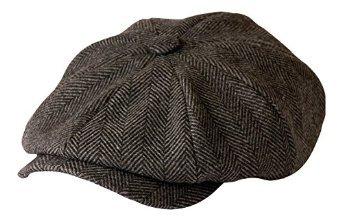 Gamble & Gunn 'Shelby' Schiebermütze Grau Fischgrätenmuster Tuch Cap, Grau