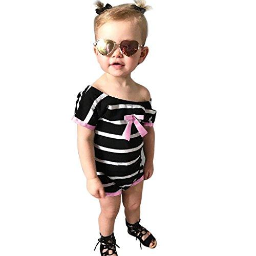 Malloom® Neugeborenes Baby-Mädchen-Streifen-Druck Bowknot-Spielanzug Overall Ausstattungen top bluese kleid A-line Schultermantel (schwarz, 110)