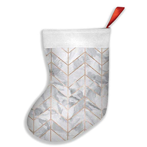 gongsi Marble Herringbone Rose Gold Gilt Design Christmas Holiday Stockings for Family Parties, Schools, Classrooms, Clubs, Offices, Employees ()