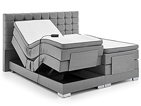 Boxspringbett elektrisch verstellbar 180 200x200cm Taschkenfederkern Doppelbett Ehebett Grau Anthrazit Dublin (200 x 200 cm, Grau)