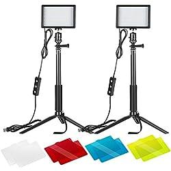 Neewer LED Panneau USB Lumière Vidéo 5600K Réglable - Lot de 2 Lampe LED avec Trépied et Filtres Colorés pour Photo à Faible Angle Eclairage LED Coloré pour Photo Portrait Vidéo Youtube