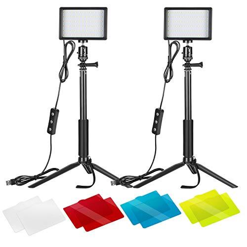 Neewer 2 Packung Dimmbares 5600K USB-LED-Videolicht mit verstellbarem Stativ Farbfilter für Tisch-Flachwinkelaufnahmen farbenfroh Beleuchtung Produktporträt YouTube-Videofotografie