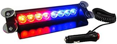 AutoStark Red/Blue 8LED Car Dash Strobe Flash Light 3 Modes for Cras