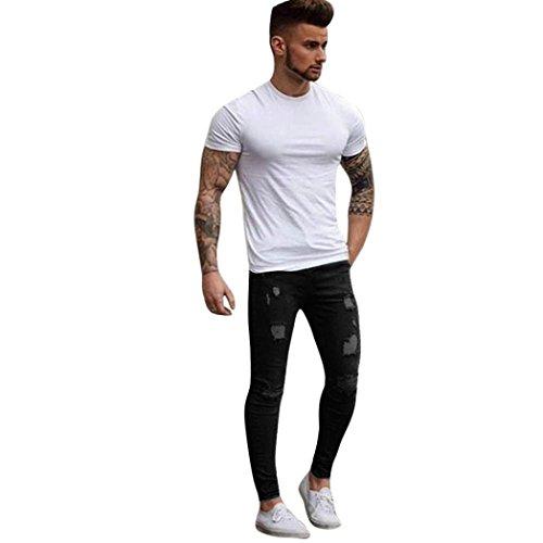 en Slim Fit Herren Stretchy Ripped Skinny Biker Jeans Destroyed Denim Hosen (Schwarz, S) (Geschenke Für Jungen-erste Kommunion)