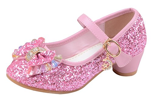 La Vogue Zapatos Zapatilla con Lentejuela Para Niña Princesa Fiesta Rosa 33/Longitud Interior 21CM