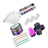 Xhuan - Kit di Arte per Unghie con pennelli per Nail Art, 12 Colori per Unghie, 2 Penne intercambiabili, Colori Assortiti